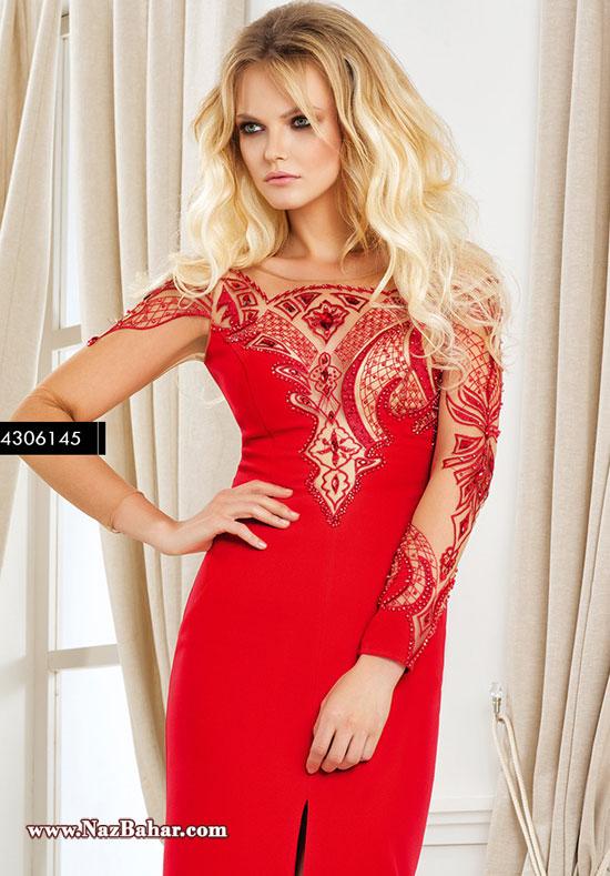 زیباترین مدل لباس مجلسی 2016 گیپور و حریر