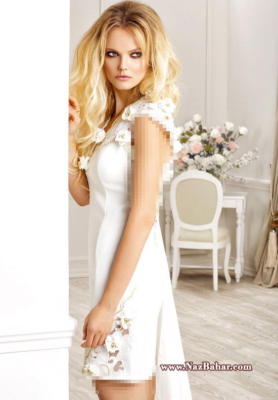 لباس مجلسی 2015 ترک دخترانه سفید,مدل های جدید لباس مجلسی 2015