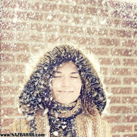عکس دختر زیبا عاشق زیر برف,دختر زیبا در فصل زمستان