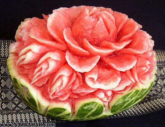 مدل تزیین میوه شب یلدا جدید,تزیین هندوانه برای شب یلدا