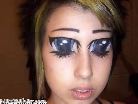 مدل آرایش چشم,مدل های عجیب غریب و خنده دار آرایش چشم