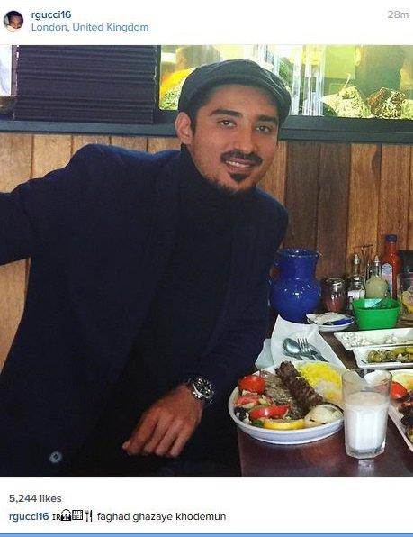 عکس رضا قوچان نژاد در لندن در حال چلو کباب خوردن