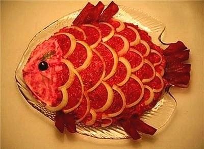 تزیین سالاد شکل ماهی,انواع سالاد های مختلف و تزیین سالاد بصورت هنرمندانه