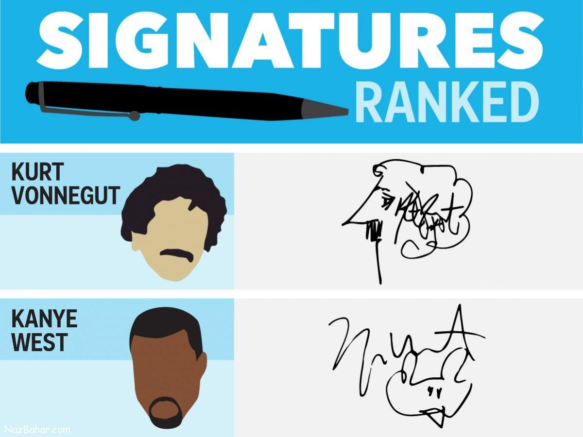 امضاهای باحال افراد مشهور [اینفوگرافیک]