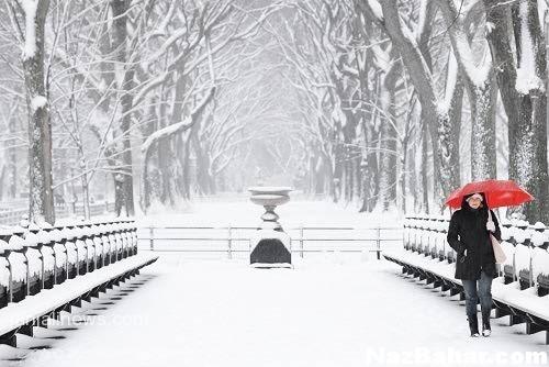 عکس عاشقانه برفی , عکس نوشته زمستان , برفی دو نفره